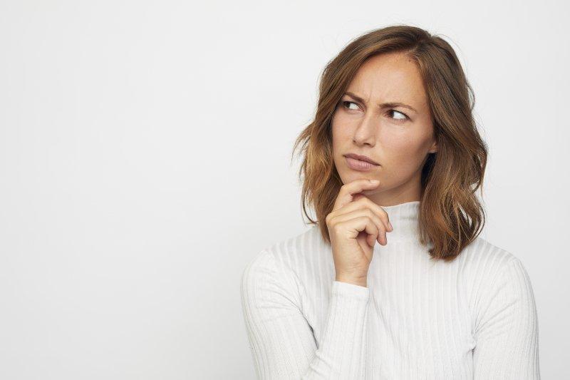 Closeup of woman pondering